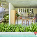 private pool in front of kitchen at villa casabama