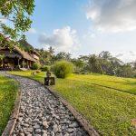 villa kelusa pondok road with rice fields
