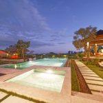 pool view at villa griya atma at night