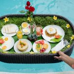 get your breakfast at swimming pool by villa cemadik