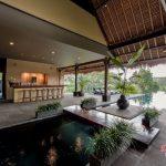 swimming pool view at villa kelusa pondok surya