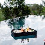 breakfast floating at villa kelusa pondok surya swimming pool2