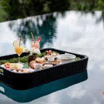 breakfast floating at villa kelusa pondok surya swimming pool