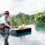 our team serving your floating breakfast at villa kelusa pondok sapi