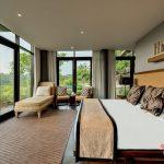 king size bedroom with wonderful view at villa kelusa pondok sapi