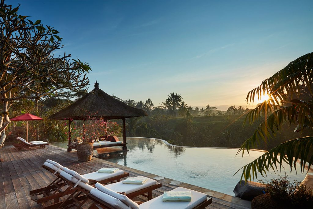 Sun rise at honeymoon villa in Bali